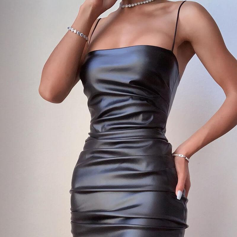 Black Leather Spaghetti Strap Bodycon Knee Length Dress