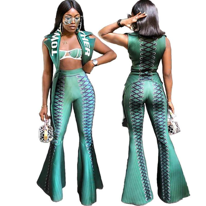 Strpless Crop Top Straps Bell Bottom Pants Set