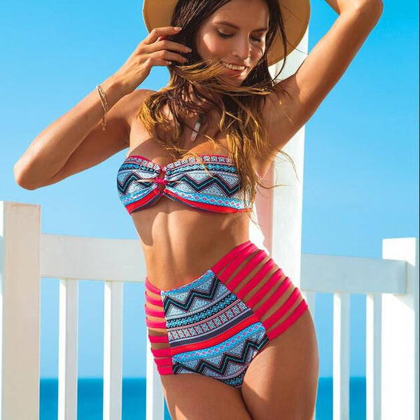 Bandeau Straps Hollow Out High Waist Two Pieces Swimwear