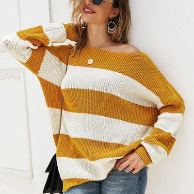 Crewneck Colorblock Stripes Knit Sweater