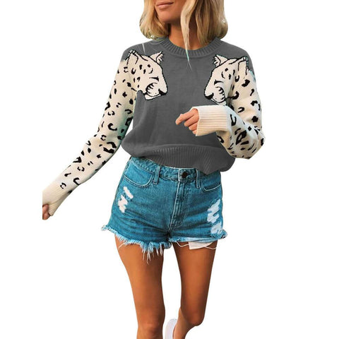 Knit Pullover Animal Print Plus Size Sweater
