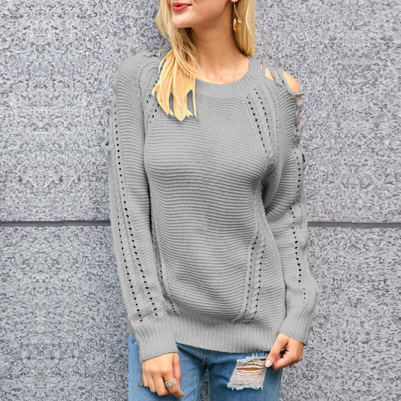 Cold Shoulder Hollow Out Knitted Soild Sweater