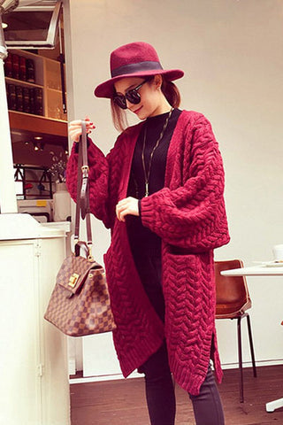Cable Knitwear Pockets Long Loose Cardigan