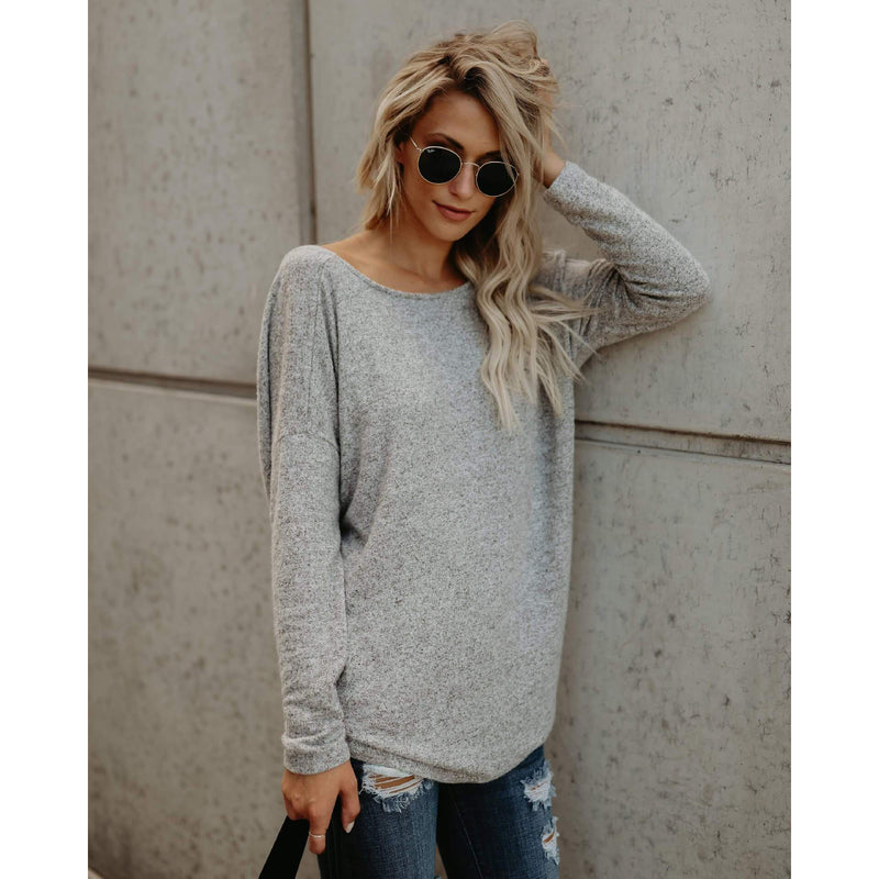 Backless Loose Long Sleeves T-shirt