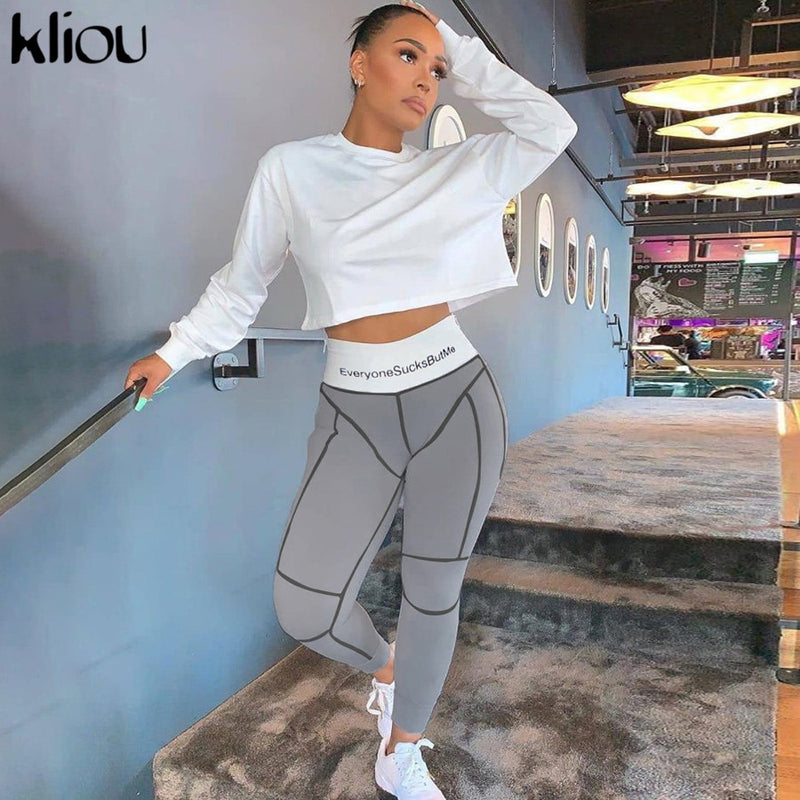 Sexy Gray Letter Print High Waist Bodycon Leggings Pants