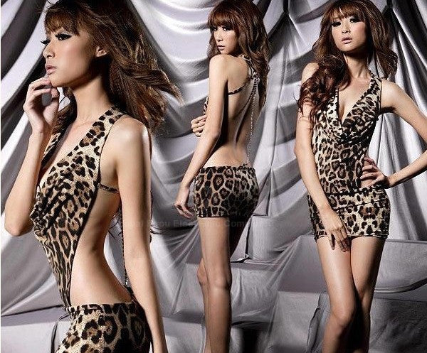 Stylish Sexy Leopard Backless Hot Girl Dress Clubwear - MeetYoursFashion - 3