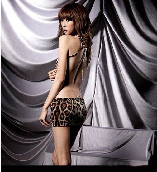 Stylish Sexy Leopard Backless Hot Girl Dress Clubwear - MeetYoursFashion - 2