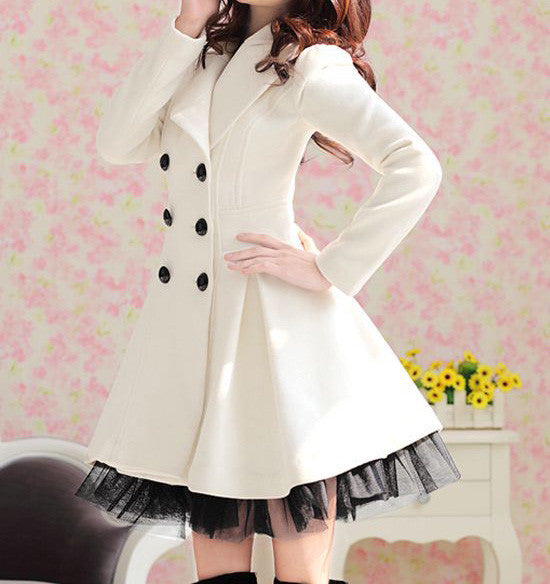 Double-Breasted Beam Waist Ruffles Women's Coat - Meet Yours Fashion - 4