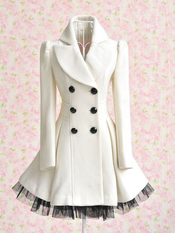Double-Breasted Beam Waist Ruffles Women's Coat - Meet Yours Fashion - 6