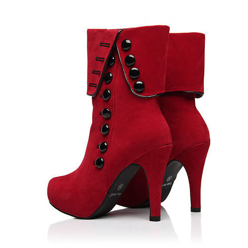 Classy Red Rivets High Heel Platform Boots - MeetYoursFashion - 1