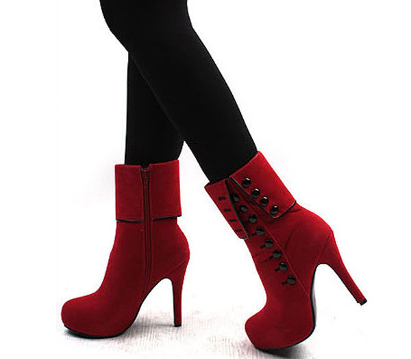Classy Red Rivets High Heel Platform Boots - MeetYoursFashion - 7