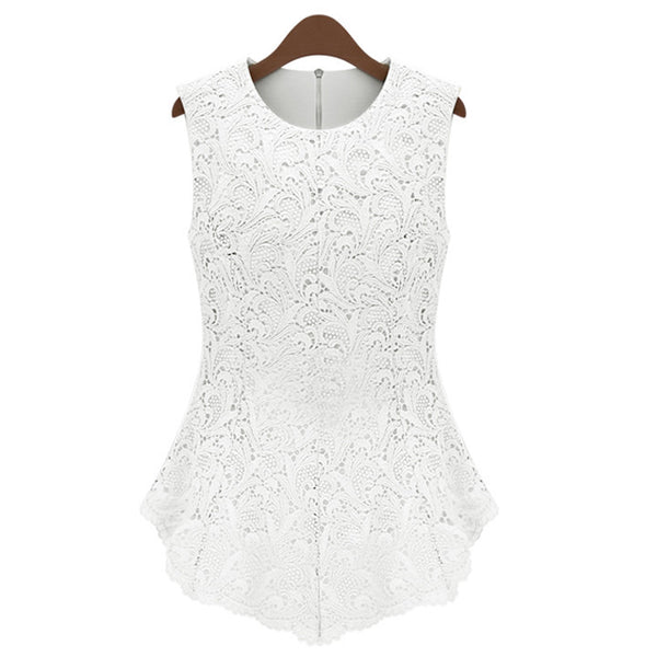 Slim Pure Color Tank Lace Blouse - MeetYoursFashion - 4