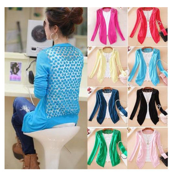 Candy Color Hollow Thin Knitting Blouse - Meet Yours Fashion - 7