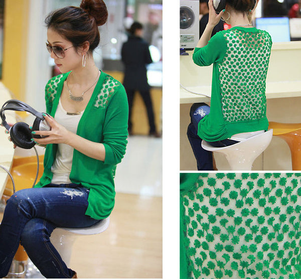 Candy Color Hollow Thin Knitting Blouse - MeetYoursFashion - 9