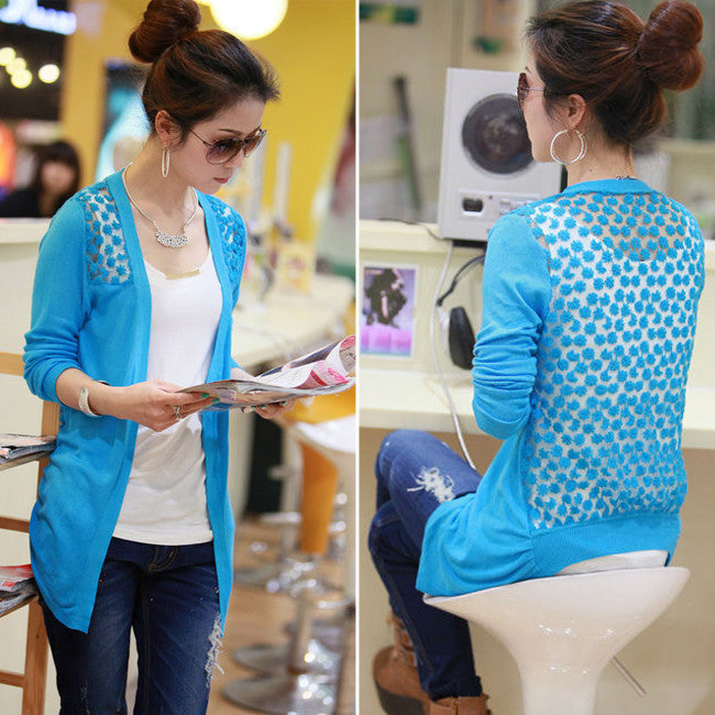 Candy Color Hollow Thin Knitting Blouse - Meet Yours Fashion - 2