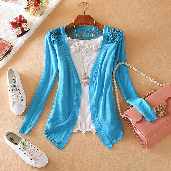 Candy Color Hollow Thin Knitting Blouse - Meet Yours Fashion - 3