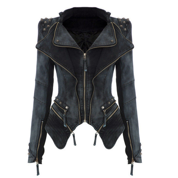 Rivets Shoulder Denim Tuxedo Jacket - Meet Yours Fashion - 3