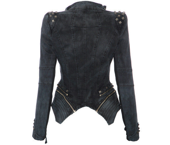 Rivets Shoulder Denim Tuxedo Jacket - Meet Yours Fashion - 5