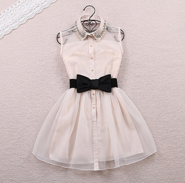 Fashion Beadings A-line Short Bowknot Belt Dress - MeetYoursFashion - 1