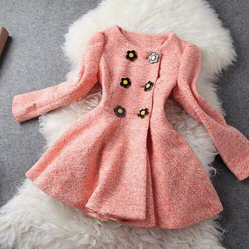 Women's Double-breasted Short Woolen Coat