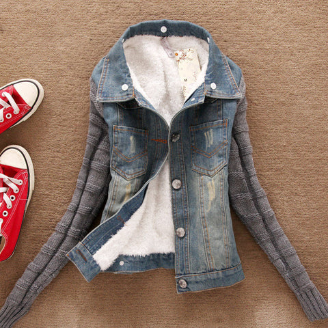 Turn-Down Neck Flocking Denim Jacket - MeetYoursFashion - 4