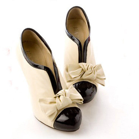 Adorable Bow Design High Heel Shoes in Beige - MeetYoursFashion - 3