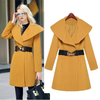 Lapel Collar Slim Long Wool Coat - Meet Yours Fashion - 1