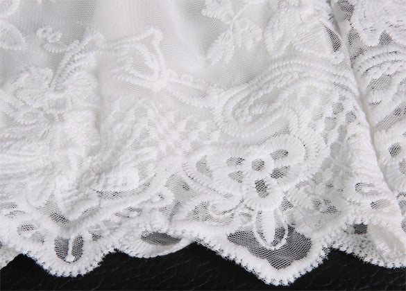 White Lace Spaghetti Strap Dress - Meet Yours Fashion - 4