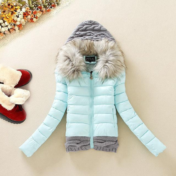 Knitted Splicing Hooded Down Coat - MeetYoursFashion - 2