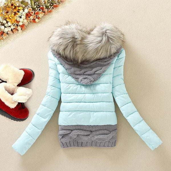 Knitted Splicing Hooded Down Coat - MeetYoursFashion - 4