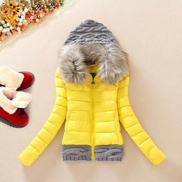 Knitted Splicing Hooded Down Coat - MeetYoursFashion - 1