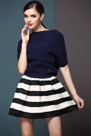 High Waist Stripe Mini Skirt - Meet Yours Fashion - 3