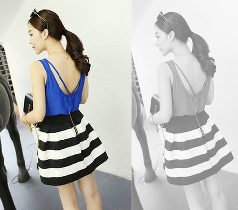 High Waist Stripe Mini Skirt - Meet Yours Fashion - 4