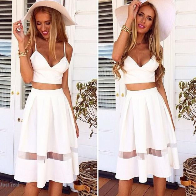 Spaghetti Strap Patchwork Crop Top with Long Skirt Two-piece Dress - MeetYoursFashion - 1