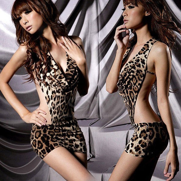 Stylish Sexy Leopard Backless Hot Girl Dress Clubwear - MeetYoursFashion - 1