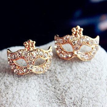 Hinestone Mask Shape Stud Earrings - MeetYoursFashion - 1