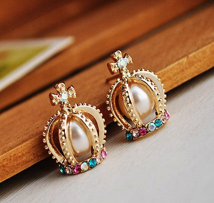 Crown Shape Colorful Rhinestone Stud Earrings - MeetYoursFashion - 1