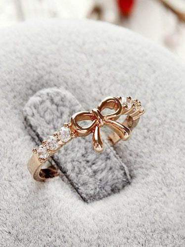 Korean Style Set Auger Bowknot Ring - MeetYoursFashion - 2