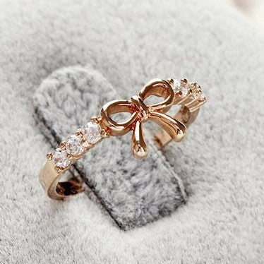 Korean Style Set Auger Bowknot Ring - MeetYoursFashion - 1