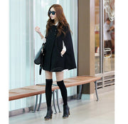 Scoop Neck Woolen Blend Women's Cloak Coat - MeetYoursFashion - 2