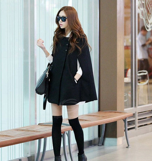 Scoop Neck Woolen Blend Women's Cloak Coat - MeetYoursFashion - 1
