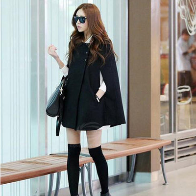 Scoop Neck Woolen Blend Women's Cloak Coat