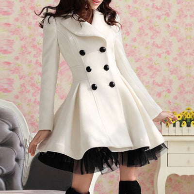 Double-Breasted Beam Waist Ruffles Women's Coat - Meet Yours Fashion - 1