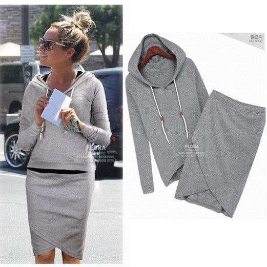 Two Pieces Sports Hoodie Knee-length Skirt Activewear Set - Meet Yours Fashion - 1