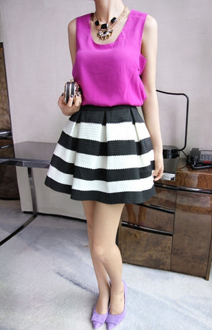 High Waist Stripe Mini Skirt - Meet Yours Fashion - 8