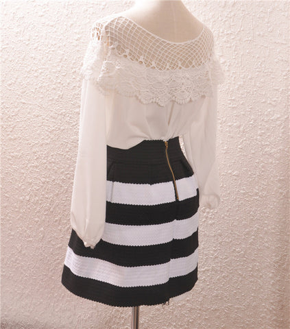 High Waist Stripe Mini Skirt - Meet Yours Fashion - 6
