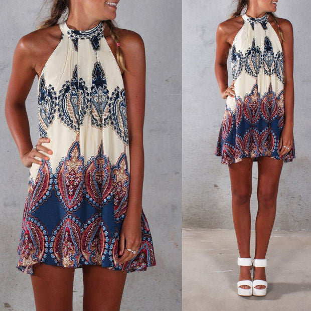 45e5361dff9 Halter neck Print Back Keyhole Sleeveless Loose Short Dress -  MeetYoursFashion - 3