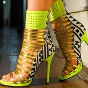 Patchwork Straps Stiletto High Heel Peep-toe Zipper Ankle Band Sandals