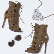 Hollow Out Peep Toe Lace Up Ankle Boot Stiletto High Heel Sandals
