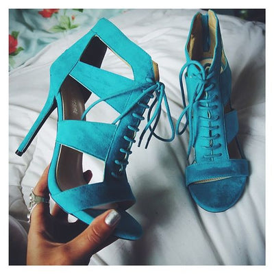 Lace-up HOllow Stiletto Heel Peep-toe Zipper Blue High Heel Sandals
